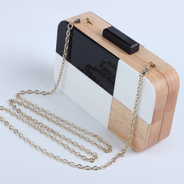 Acrylic Wood Travel Shoulder & Crossbody Handbag 5