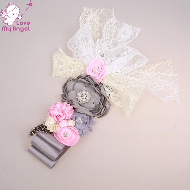 Pink and grey maternity sash flower girl sash belt lace satin shabby  feather floral sash Pregnancy photo prop 10pcs lot bd5948a636cd