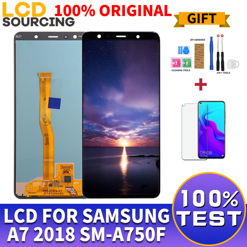 100 ORIGINAL 6 0 For Samsung A7 2018 LCD Display Touch Screen Digitizer Assembly For SM