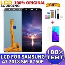 شاشة 100% أصلية 6.0 بوصة لسامسونج A7 2018 LCD تعمل باللمس محول الأرقام الجمعية ل SM A750 A750FN A750F A7 استبدال العرض