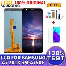 """100% oryginalny 6.0 """"dla Samsung A7 2018 wyświetlacz LCD ekran dotykowy Digitizer zgromadzenie dla SM A750 A750FN A750F A7 wyświetlacz wymienić"""