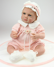 22 inch Kids Toys Soft Interactive Baby Dolls Toy Doll For girls Newborn Baby Doll with lovely Dress