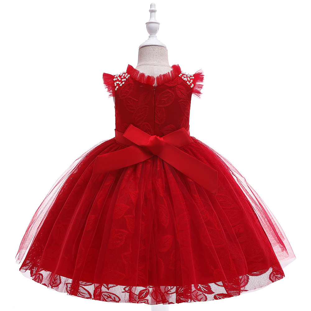 New Ballgwon Red  Flower Girl Dresses For Prom Evening  Lace   Birthday Party Dress Tutu Dresses 2019 In Stock