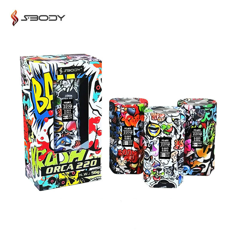 Original Sbody ORCA 220W Box Mod Graffiti Pattern Electronic Cigarette VW TC Mods Fit Dual 18650 Battery RDA RBA RDTA Vape Tank