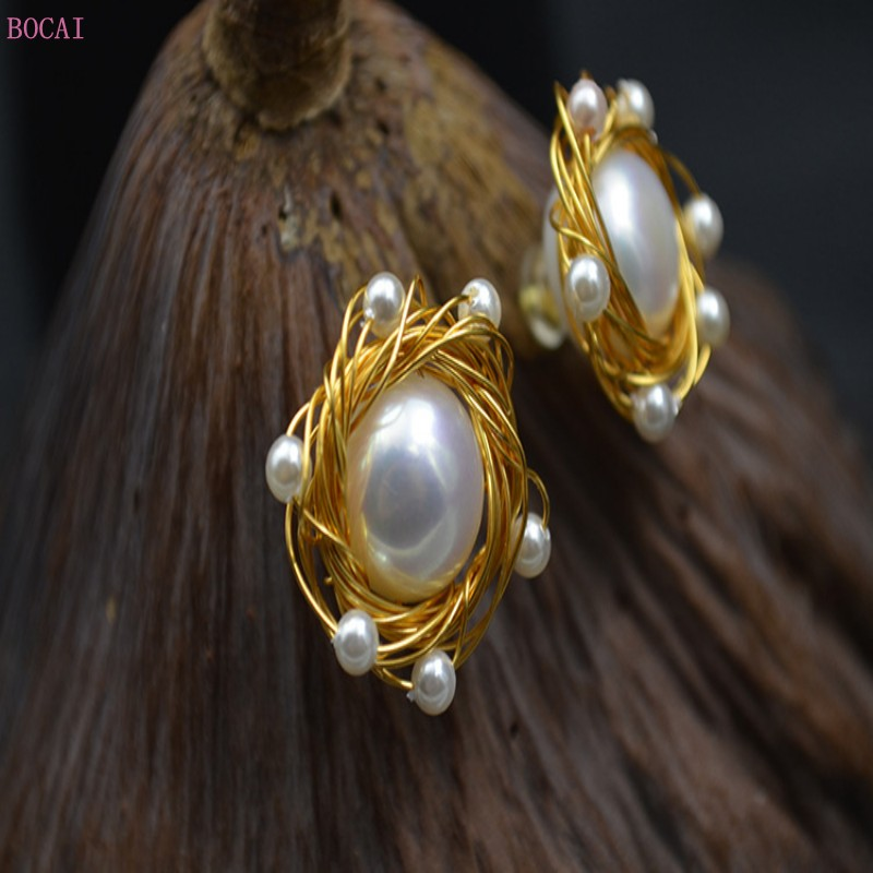 new fashion jewelry flower women's ear nail female wrapped thread for hand color retention and allergy prevention S925 silver ne