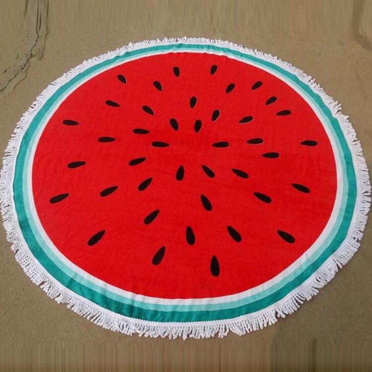 Watermelon Round Beach Tassels Tapestry Yoga Mat 150cm Hippie Blanket With Tasse