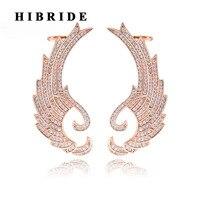 Hibride rosa color oro angelo ali donne orecchini con perno gioelleria raffinata e alla moda regalo di compleanno del polsino dell'orecchio brinco e-351