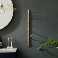 Nordic Toothbrush Cup Holder Coat Hook Drain Storage Rack Creative Hair Dryer Rack Bathroom Accessories Solid Brass Wall Mounted