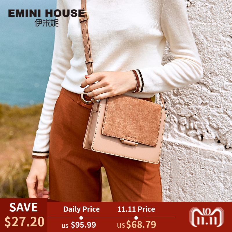 EMINI HOUSE Split Leather Fur Flap crossbody bags for women 2018 Messenger shoulder bags Female Solid Color Cross Body Bags twenty four women brand flap bags natural genuine leather handbags with chain solid color cover small bags young cross body bags