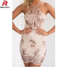 Reaqka fábrica al por mayor mujeres sexy club wear dress halter partido del  vendaje backless mini c298fa9749c6