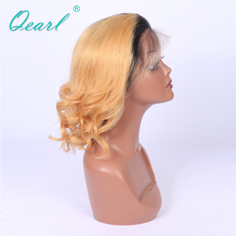 Middel Part Remy Ombre Blonde Full lace Wigs Pre- Plucked Natural Hairline Baby Human Hair Ombre 150% Medium Cap Full Lace Wig