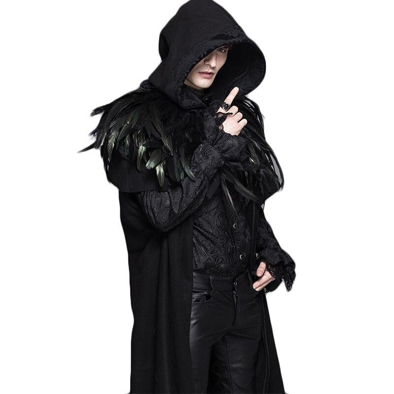 Зимние стимпанк Для мужчин женский, черный Тренч обычные рукава со съемным капюшоном Утепленные длинные пальто с пером шаль CT031