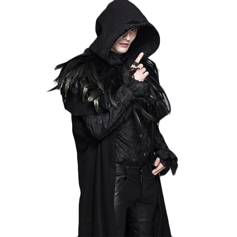 Inverno Steampunk Uomo Donna Trench nero manica regolare staccabile con cappuccio addensare cappotti lunghi con scialle di piume CT031