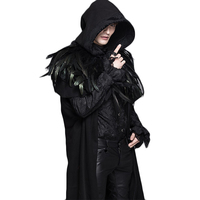 Winter Steampunk Men Women Black Trench Coat Regular Sleeve Detachable Hooded Thicken Long Coats With Feather Shawl CT031