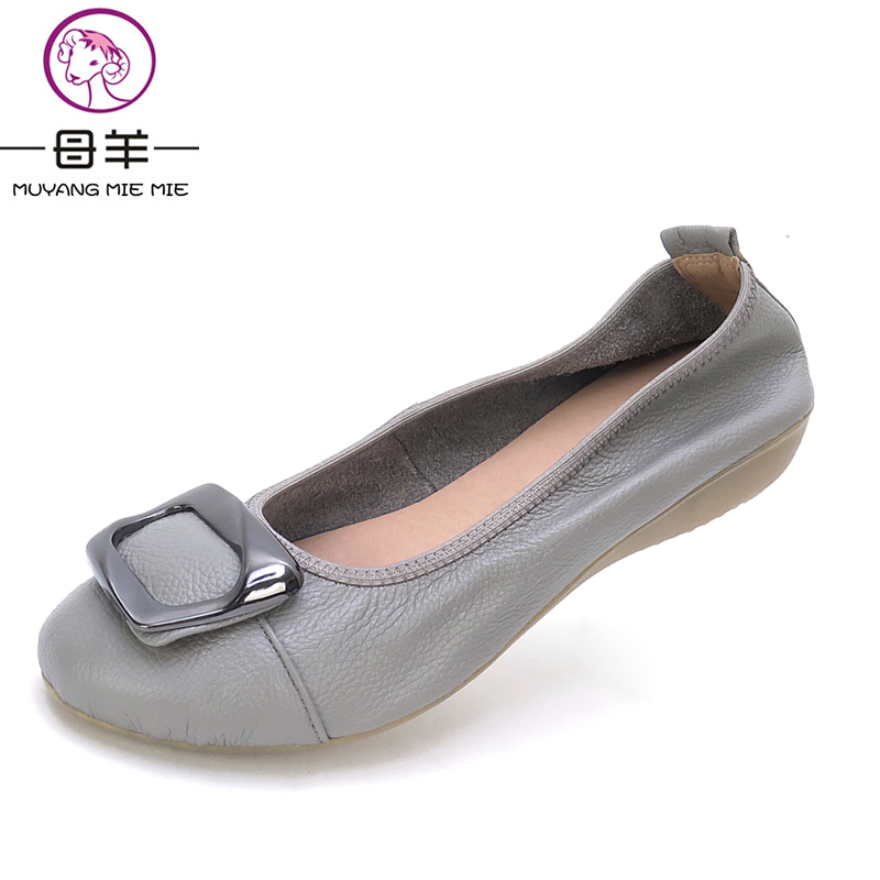 MUYANG MIE MIE Plus Size 35-42 Women Shoes Woman Genuine Leather Flat Shoes 5 Colors Loafers Fashion Soft Women Flats