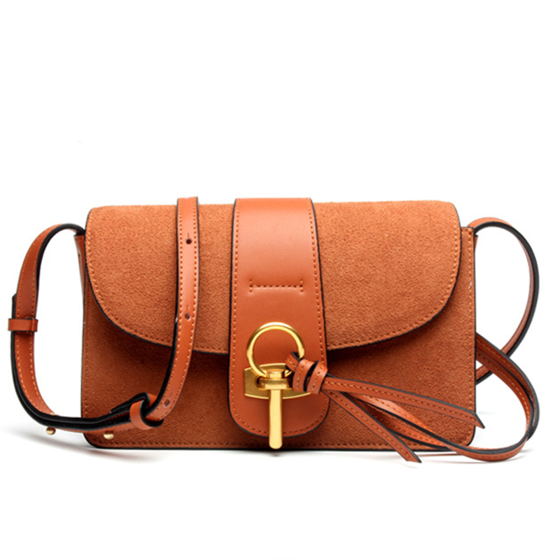 2017 New Arrival Scrub Fashion Women Genuine Leather Handbags with Lock Ladies Crossbody Shoulder Messenger Bags Clutch Purse