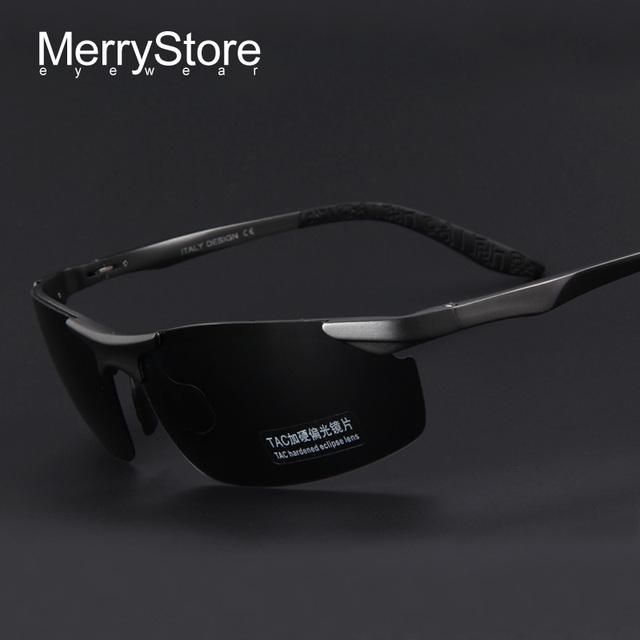 Homens marca de luxo MERRYSTORE liga óculos polarizados alumínio ultraleve quadro homem clássico óculos polarizados UV400 com caso
