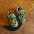 Los niños Zapatos de Los Niños zapatos Mocasines Niños Nieve Del Invierno Del Tobillo Botas para Niñas franja Plana Zapatillas de Deporte de Piel de Bebé Botas Australianas