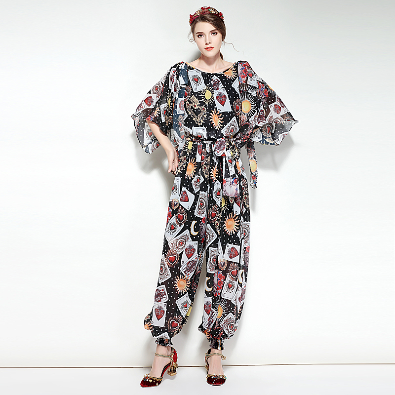 Milan Catwalks New High-Quality Runway Designer 2018 Spring And Summer Fashion Party WomenS Printing Chiffon Long Jumpsuits