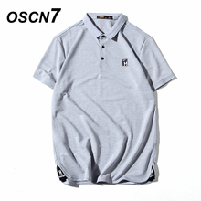 OSCN7 Casual Solid Slim Fit Polo Shirt Men 2018 Spring Formal Business Short  Sleeves Polo Shirt. 3 Colors Available 0364c6b5f8782