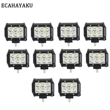 10 Pcs 4 Inch LED Work Light Bar 12V 24V DC 18W for Indicators Motorcycle Driving Offroad Boat Car Tractor Truck 4x4 SUV ATV UTE