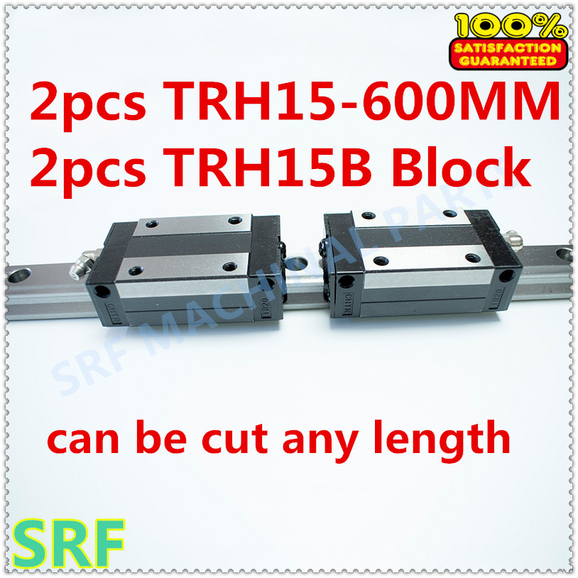High quality 15mm width Precision Linear Guide Rail 2pcs TRH15  Length=600mm +2pcs TRH15B Square linear block for CNC 2pcs high quality 1 2 inch shank rail