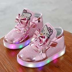 KKABBYII детская обувь Новые весенние светодио дный туфли для девочек Принцесса Милая обувь со светом EU 21-30