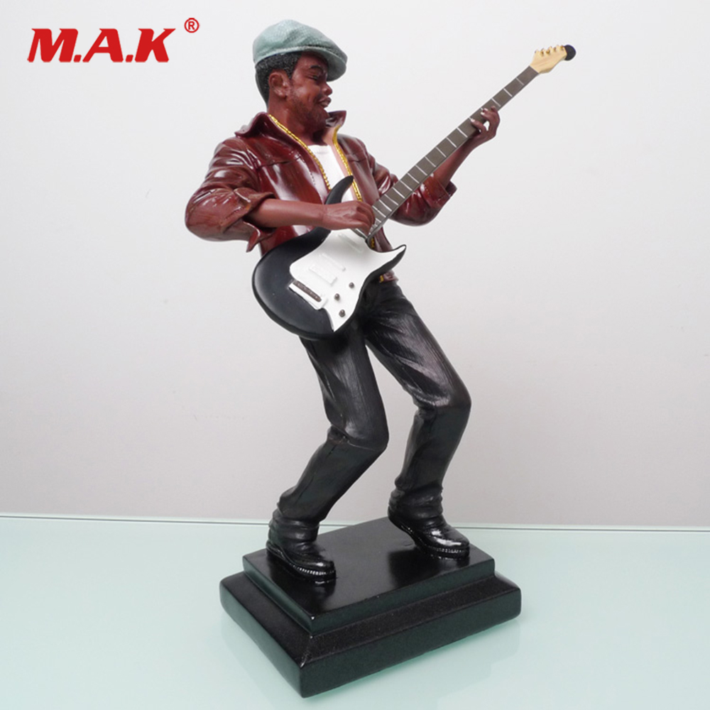 For Collection 27.5cm Action Figure Model Toys Black Guitar Music Character Sculpture Collectible Gift
