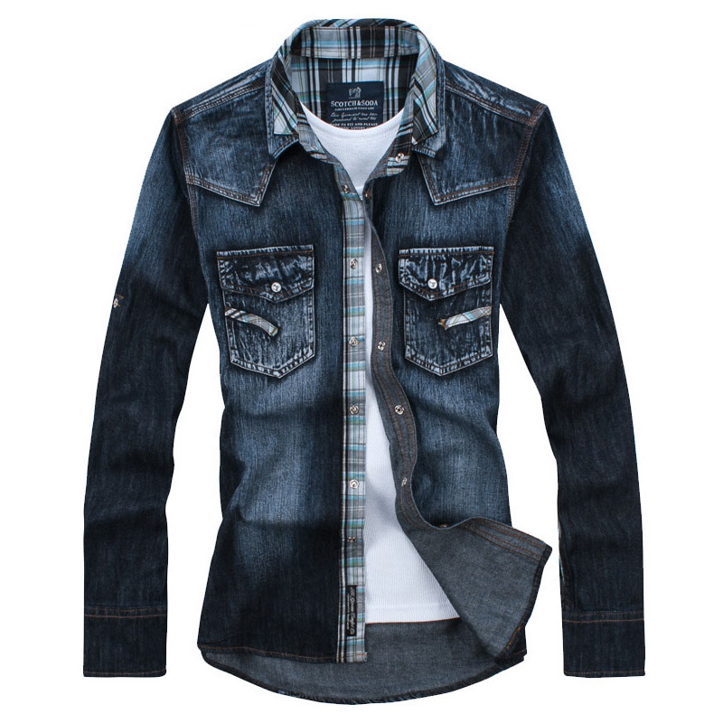 Long Sleeve Denim Shirts Men Casual Shirt Fashion Brand Cowboy Dark Blue Slim Jean - Seven-yo store