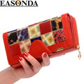 EASONDA Brand Women Wallet Genuine Leather Ladies Wallets Fashion Long Multi Slot Card Holder carteira Portefeuille Femme Clutch