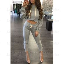 Laipelar Women Tracksuit Warm Winter Casual Two Piece Set Hoodies Pullovers Cropped Tops+Pants Solid Color Outfits