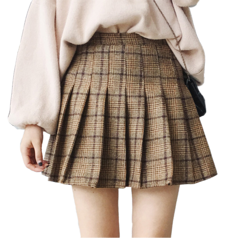 Woolen Plaid Pleated Skirts   Shorts   2017 New Autumn Winter Female High Waist Skirt   Shorts   For Women Mini   Shorts   Skirt Large Size