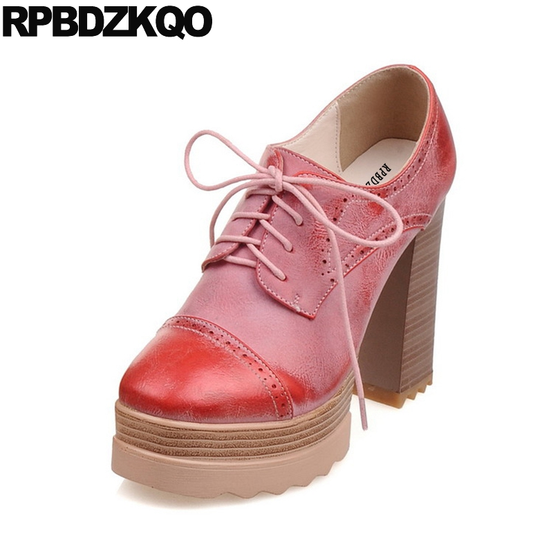 Ultra High Heels Ladies Red Lace Up Oxford Plus Size Brogue Casual Round Toe Platform China 10 42 Super Chunky Pumps Shoes 11 43 female s lace up bow knot women glitter rivets rome sandal on platform plus size 42 43 round toe girls summer shoes flip flops