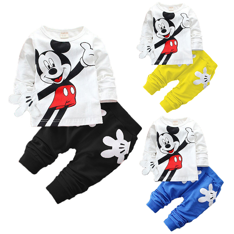 2aee06d6468692 Baby Jungen Kleidung Set Mickey Minnie Cartoon Jungen Mädchen T shirts Tops  Hosen Anzug Baby Kinder Kinder Kleidung Bebes Trainingsanzug