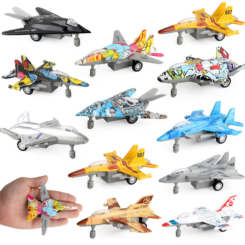 Diecast Airplane Model Military Aviones De Juguete Alloy Fighter Graffiti Pull Back Aircraft Dinky kids Toys For Children Boys(China)