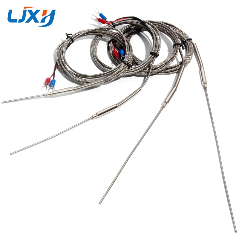 LJXH K-Type Thermocouple 2mm Probe Dia. 50mm/100mm/150mm/200mm Probe Length Temperature Sensors 1m/2m/3m/4m/5m Thermocouple