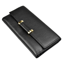 2017 Luxury Brand Womens Wallets 3 Fold High Quality Genuine Leather Coin Pocket Card Holder Ladies