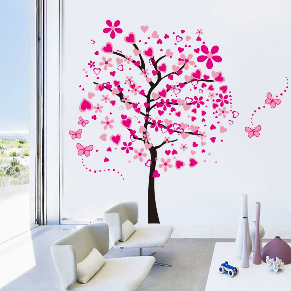 super large pink love tree wall stickers decals girls women bonito