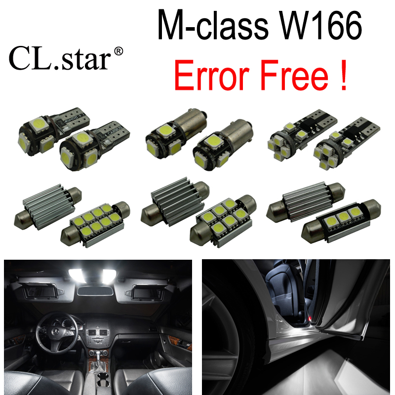 17pc X Error Free LED interior dome light lamp Kit package For Mercedes Benz M class W166 ML320 ML350 ML550 (2012-2014) 10pcs error free led lamp interior light kit for mercedes for mercedes benz m class w163 ml320 ml350 ml430 ml500 ml55 amg 98 05