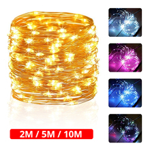 купить LYFS 2M 5M 10M AA Battery String Lights Copper Wire LED Lights Decoration Fairy Lights For Birthday Party Garland Wedding дешево