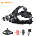 Newest Zoom 8000lm XML-T6+2XPE Headlights Headlamps Rechargeable Head lamp for Fishing with 18650 Battery+Car-charger+AC Charger