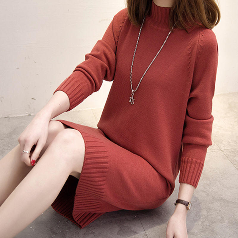 Long Knitted Women Sweater Dress Female Winter Long For Girls Ladies Autumn Winter Dress Women 2018