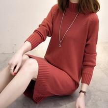 Длинное вязаное женское платье-свитер Женское зимнее длинное платье для девочек женское осенне-зимнее платье женское 2018 пуловер Водолазка