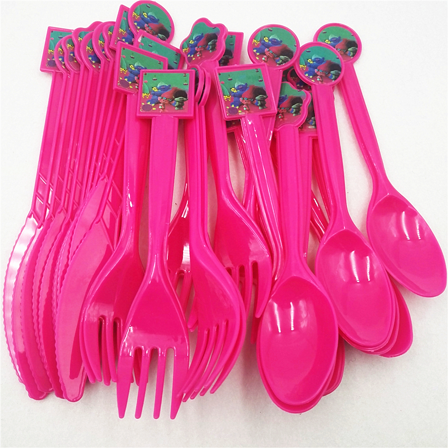 30pc/set Trolls Knife Fork Spoon Party Supplies Tableware Festival Baby Shower Birthday Decoration Favor