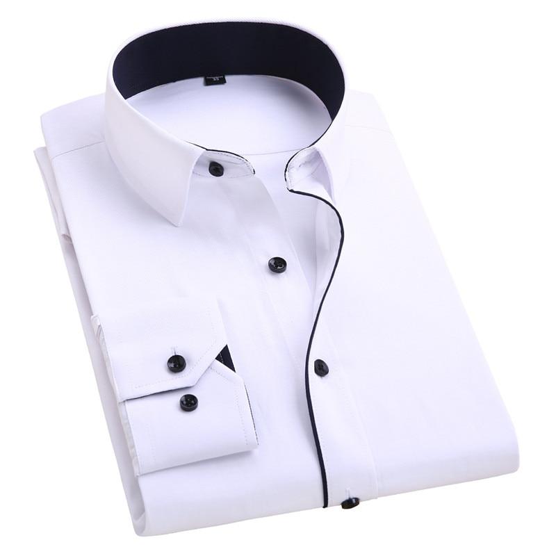 2017 Men's Wedding Shirt Long Sleeve Men Dress Shirt Business Solid Color Casual Shirts Work Wear Formal Slim Shirt Man YN554