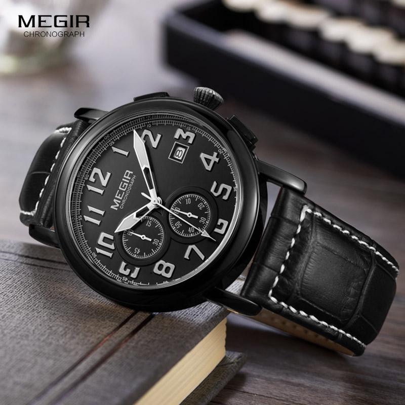 Megir Mens Chronograph Leather Strap Quartz Wrist Watches Fashion Luminous Round Dial Black Wristwatch for Man Male 2031 megir mens watches leather strap square dial luxury quartz watch clock waterproof sport chronograph wristwatch montre for man