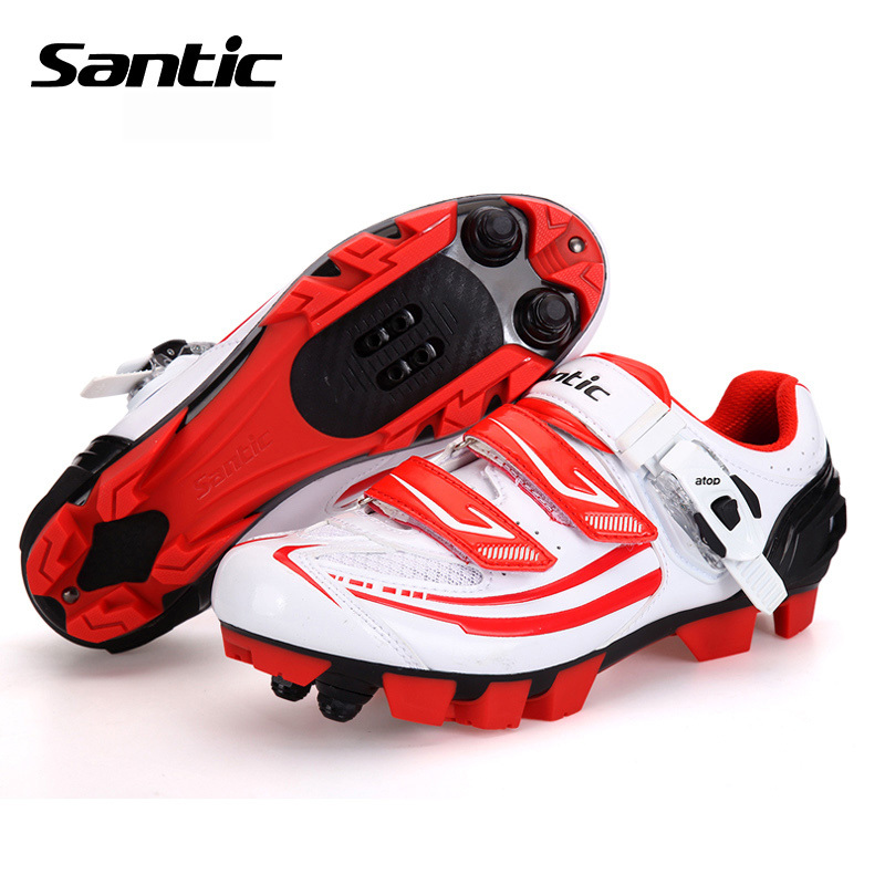 Santic Athletic Cycling Shoes Women Breathable Microfiber Mesh Mountain Bike Shoes Auto-lock Bicycle MTB Shoes Scarpe Ciclismo