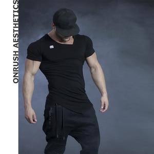 Мужская футболка для тренировок, тонкая облегающая футболка с короткими рукавами, для бодибилдинга, горячая распродажа