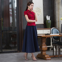 Elegant Slim Plus Size Qipao Cheongsam Embroidery Traditional Chinese Dress Two Piece Set Sexy Slim Top And Swing Skirt 2019
