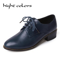 2017 Blue Black Lacing Round Toe Leather Thick Heel Women S Shoes Brogue Women Wing Tip